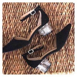 "Cato Shoes - LAST PAIR SZ8!  Black ankle straps w/clear 2""heels"